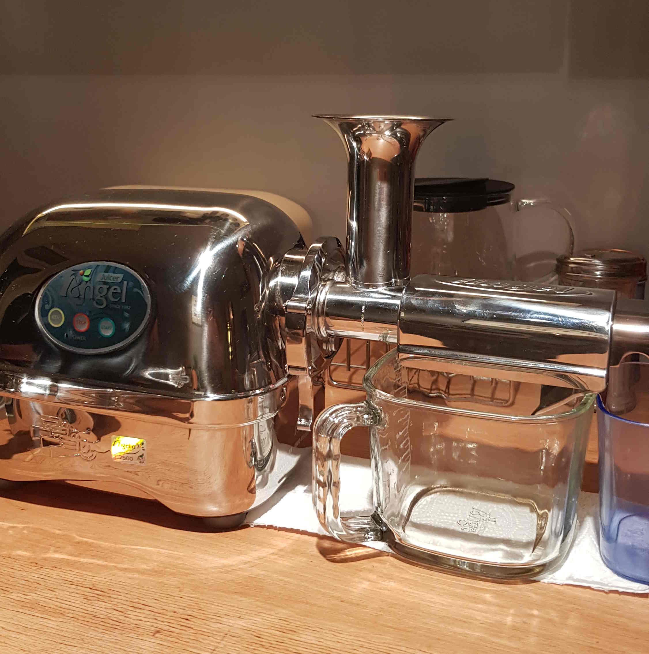 Die besten horizontalen Slow Juicer: hohe Preisklasse. Angel 7500