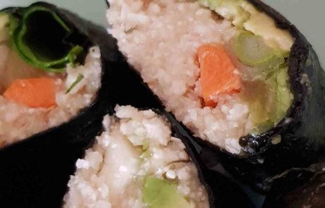 Sushi mit pastinakenreis rohvegan